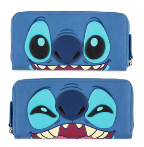 Disney-Parks-Stitch-Loungefly-Zipper-Wallet-Clutch-Credit-Card-2-Sided-NEW