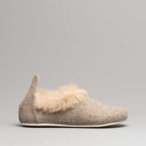 Fluffys GRACE Ladies Womens Felt Upper Soft Fur Cuff Slip On Full Slippers Stone