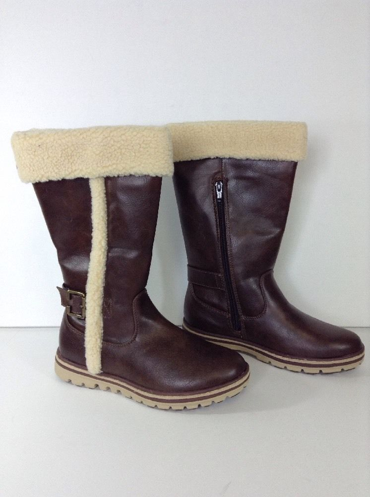 NEW Women's Cliffs KESHA Boots, Fur Top, Brown, Size 7 (281)