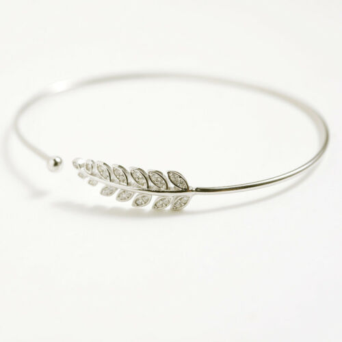 Women Fashion S925 Sterling Silver Luck Leaf CZ Inlay Opening Bracelet Bangle