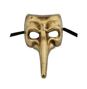 Maschera Di Venezia Nasone Dorata Zibetto Autentica Carnevale 70
