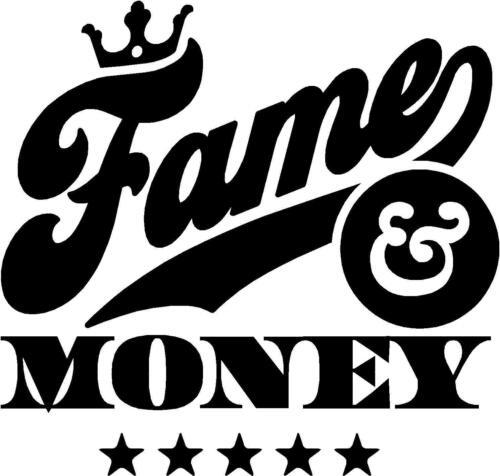 Fama y dinero fresco de lema de la etiqueta engomada de la etiqueta de vinilo gráfico Etiqueta Negra
