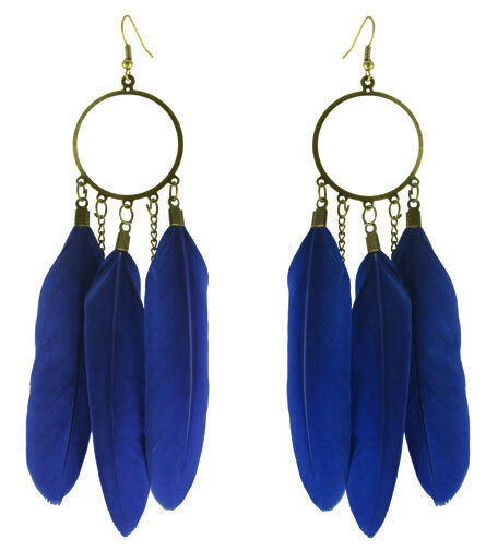 F3474 fashion blue Feather circle chain dangle chandelier earrings jewelry