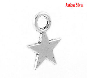 50-ANTIQUE-SILVER-SMALL-STAR-CHARMS-11mm-x-9mm-BRACELETS-EMBELLISHMENTS-63G-UK