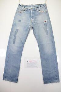 Levis-501-dechire-DestroyCod-Y1665tg47-W33-L34-jeans-taille-haute-d-039-occassion