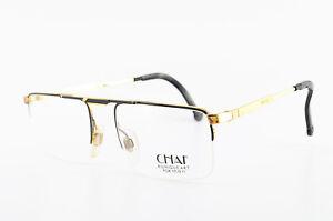 CHAI-Brille-CK-1-F-42-55-18-140-Vintage-Eyeglasses-Frame-Half-Rim-Gold-Black