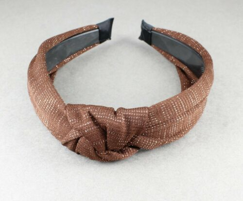 Dk Brown turban knot headband sparkly fabric covered band grip teeth fall color