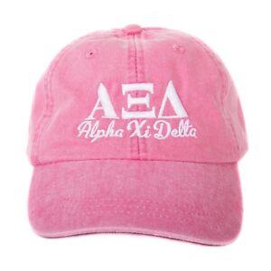 0274cc8815d Alpha Xi Delta Script Design Hot Pink Baseball Hat with White Thread ...