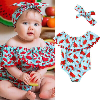 Newborn Baby Girl Clothes Watermelon Jumpsuit Romper Bodysuit+Headband Outfit US