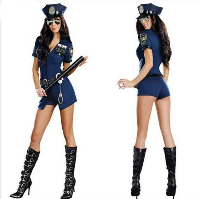 264ac2a43a9 UK Ladies Police Cop Halloween Costume Fancy Dress Sexy Outfit Woman Officer