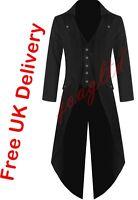 Mens Steampunk Tailcoat Jacket Black Gothic VTG Victorian Coat////