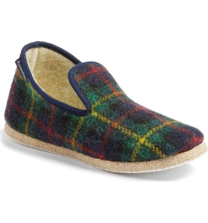 Armor Lux hecha a mano lana de lana mano Nuevo Zapatillas, azul marino y verde cuadros, De mujer tamaño 6, 99 8ae6fd
