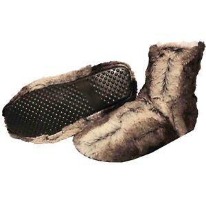 Botas-De-Casa-Negro-Hombre-Zapatillas-Peluche-Botines-Pantuflas-Suela-Goma-Altas