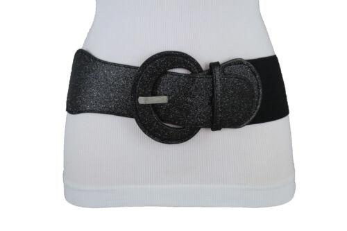 Women Black Belt Elastic Fabric Fashion Hip Waist Black Sparkling Glitter M L XL