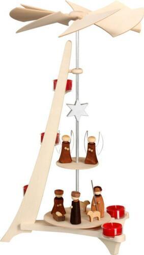 Seiffener Volkskunst Weihnachtspyramide L-Form CHRISTI GEBURT /& ENGEL 50 cm