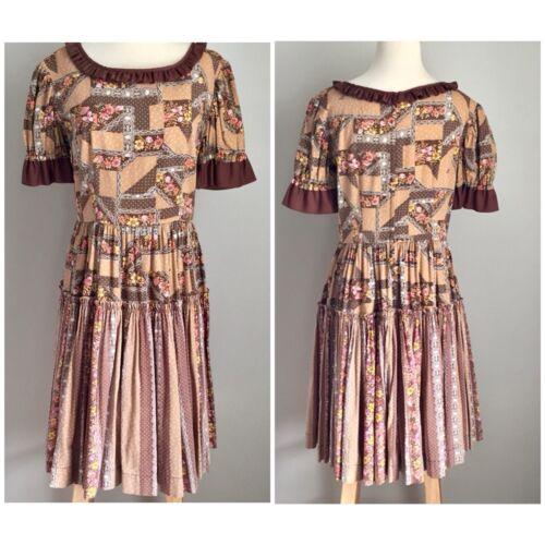 Vintage A-Line Dress 1950s 1960s Brown Pink Floral