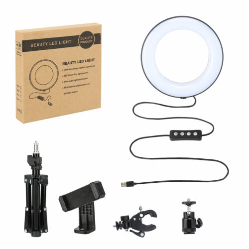 """6/"""" LED Ring Light with Stand Dimmable Lighting For Makeup Youtube Selfie Phone"""