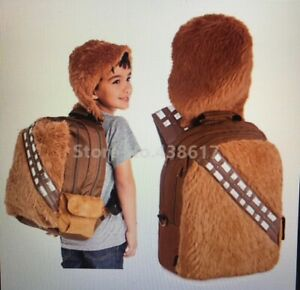 Lucas-Films-DISNEY-STORE-STAR-WARS-Chewbacca-Wookie-Plush-Bag-Back-pack-with-hat
