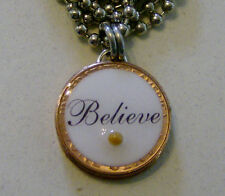 "Lucky Penny Pendant ""BELIEVE"" Mustard Seed Charm 24"" Necklace Inspiration"