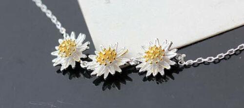D10 Trachten Armband Edelweiß 3 Blumen Blüten 925 Sterlingsilber