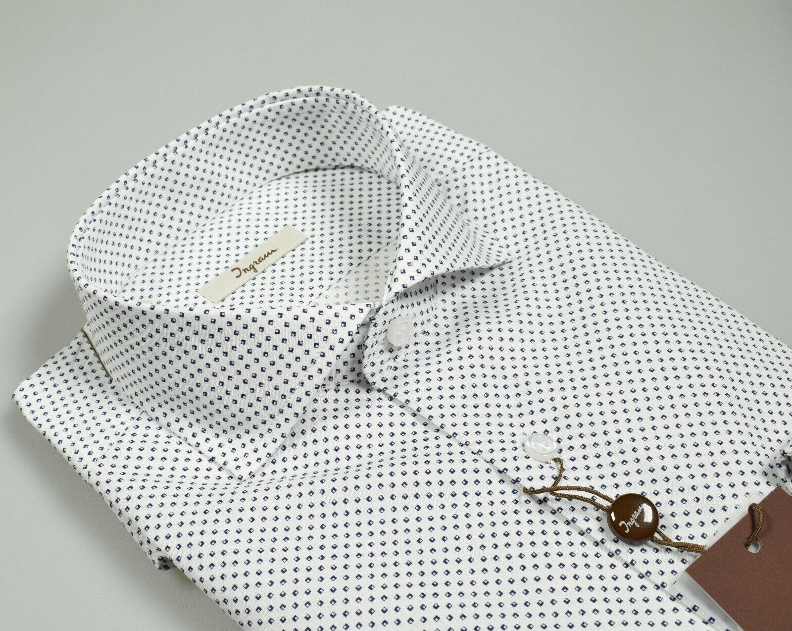 Camicia Ingram Moda Slim Fit Collo Francese puro Cotone disegno stampato Blu