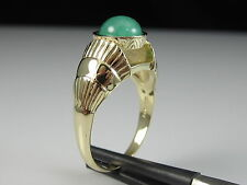 14K Retro Vintage Emerald Ring Cabochon Yellow Gold Estate Green VIOR ITALY