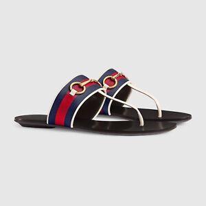 65e733411 NIB NEW Gucci women web horsebit thongs flats sandals shoes 34.5 US ...