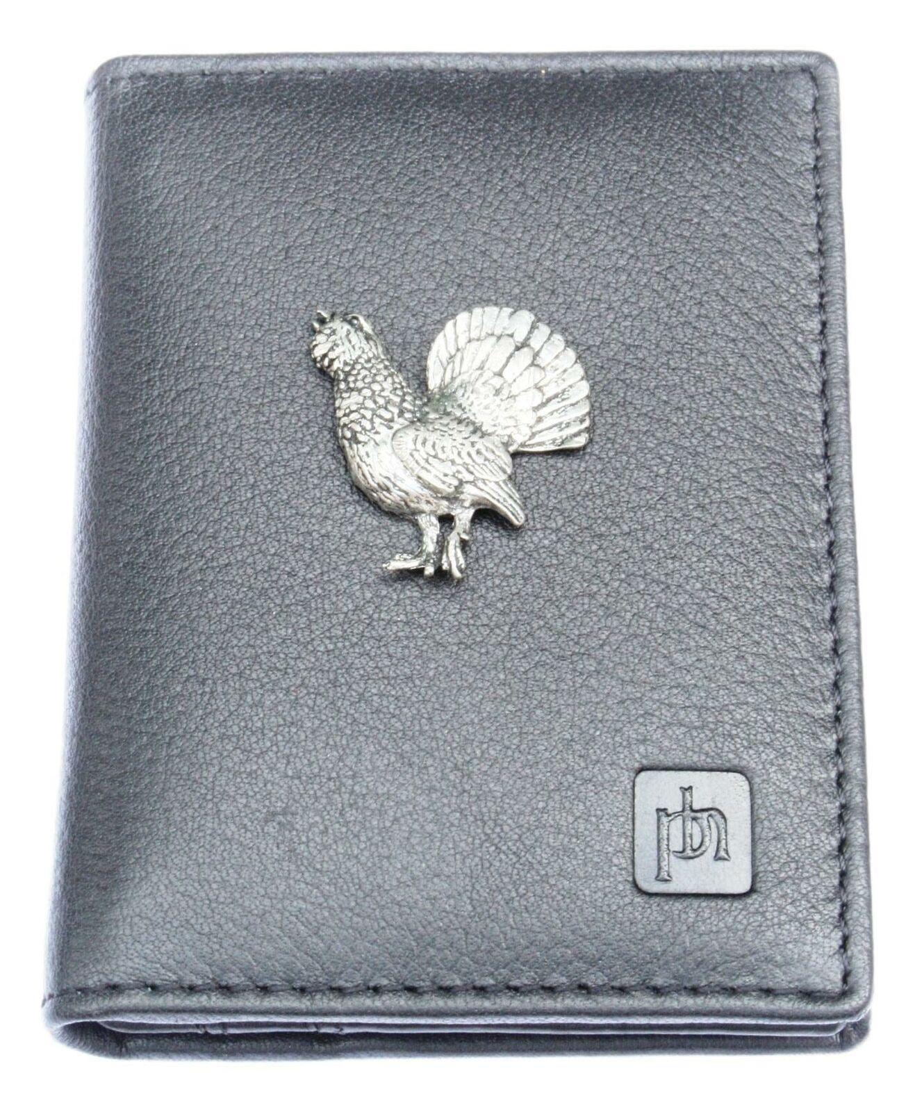 Capercaillie Bifold Card Holder Leather Black Wallet RFID Safe 62