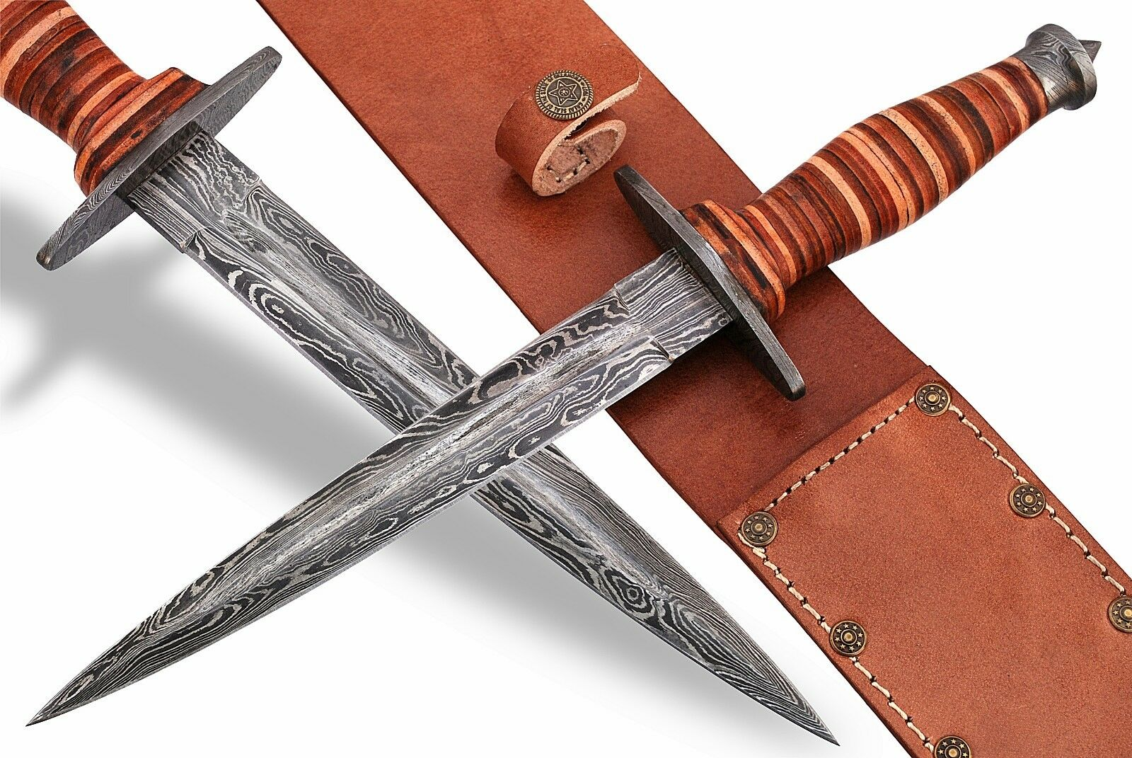 Réplica de la Segunda Guerra Mundial lucha Stiletto Daga De Combate, Hoja De Acero Damasco, Cuero Handl