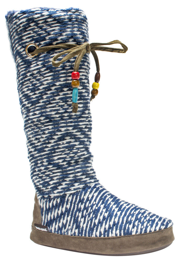 NWT Muk Luks Grace BLUE DIAMOND Fleece-Lined TALL Slipper Boots S 5/6 BEADS