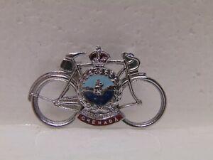 Vintage-Grenada-Bicycle-metal-Pin-silver-red-blue-colors-1-3-4-034-x-1-034
