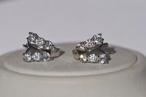 Echt-925-Sterling-Silber-Ohrringe-Creolen-Schmetterling-Zirkonia-Hochzeit-Nr-216
