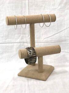 Linen-Burlap-2-Tier-T-bar-JewelryNecklace-Bracelet-Stand-Display-Tabletop-T-bar