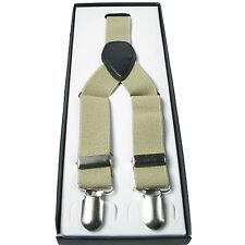Mens Beige 1 inch Elasticated Plain Braces Adjustable Suspender 3 Clip UK Seller