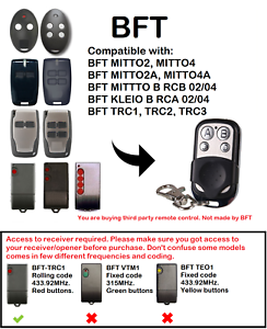 HonnêTeté Bft Mitto 2, Mitto 4 Kleio Trc Compatible Remote Control Rolling Code 433.92 Mhz.-afficher Le Titre D'origine BéNéFique Au Sperme