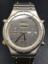 Seiko Quarz Chrono Titanium Sports 100 7A38-7130 grau gold Datum Gliederband HAU