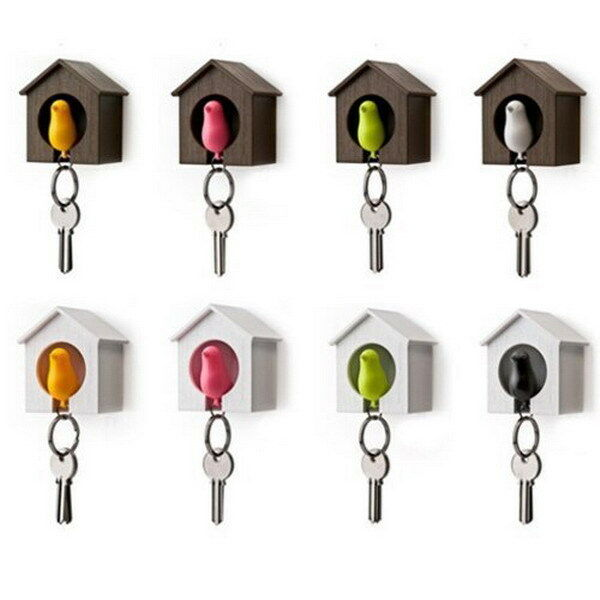 Creative Bird Nest Sparrow House Key Chain Ring Chain Wall Hook Holders Whistle