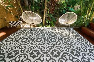 Details About 3 X Rugs 200x270cm Lisboa Outdoor Indoor Plastic Rug Mat Grey White Waterproof