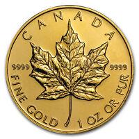 Random Year 1 oz Gold Canadian Maple Leaf Coin .9999 Fine