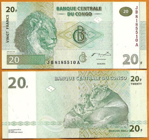 20 Francs Congo DR UNC 2003 P- 94