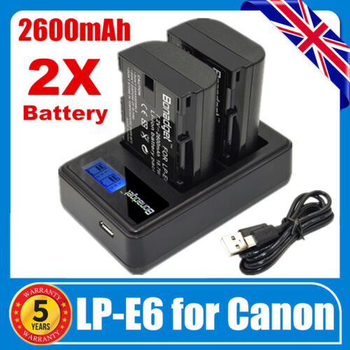 2x 2600mAh LP-E6 Battery /& USB Dual Charger for Canon EOS 5D Mark II III 60D 70D