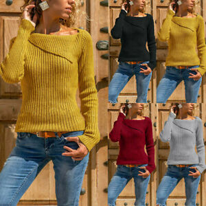 Femmes-Automne-Hiver-Manches-Longues-Bande-Solide-Pull-Pull-Pull-Blouse-Tops
