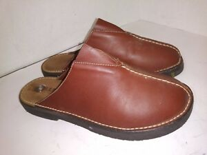 LL-Bean-Brown-Leather-Clogs-Sandals-Slide-On-Womens-Size-9-B