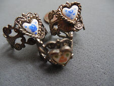 Vintage lot new old stock 3 cottage guilloche heart enamel wide rings MY4 Lot5