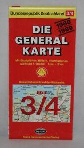 Germany-Mairs-Generalkarte-1-200-000-Map-Bremen-Oldenburg-Sheet-3-4-1988