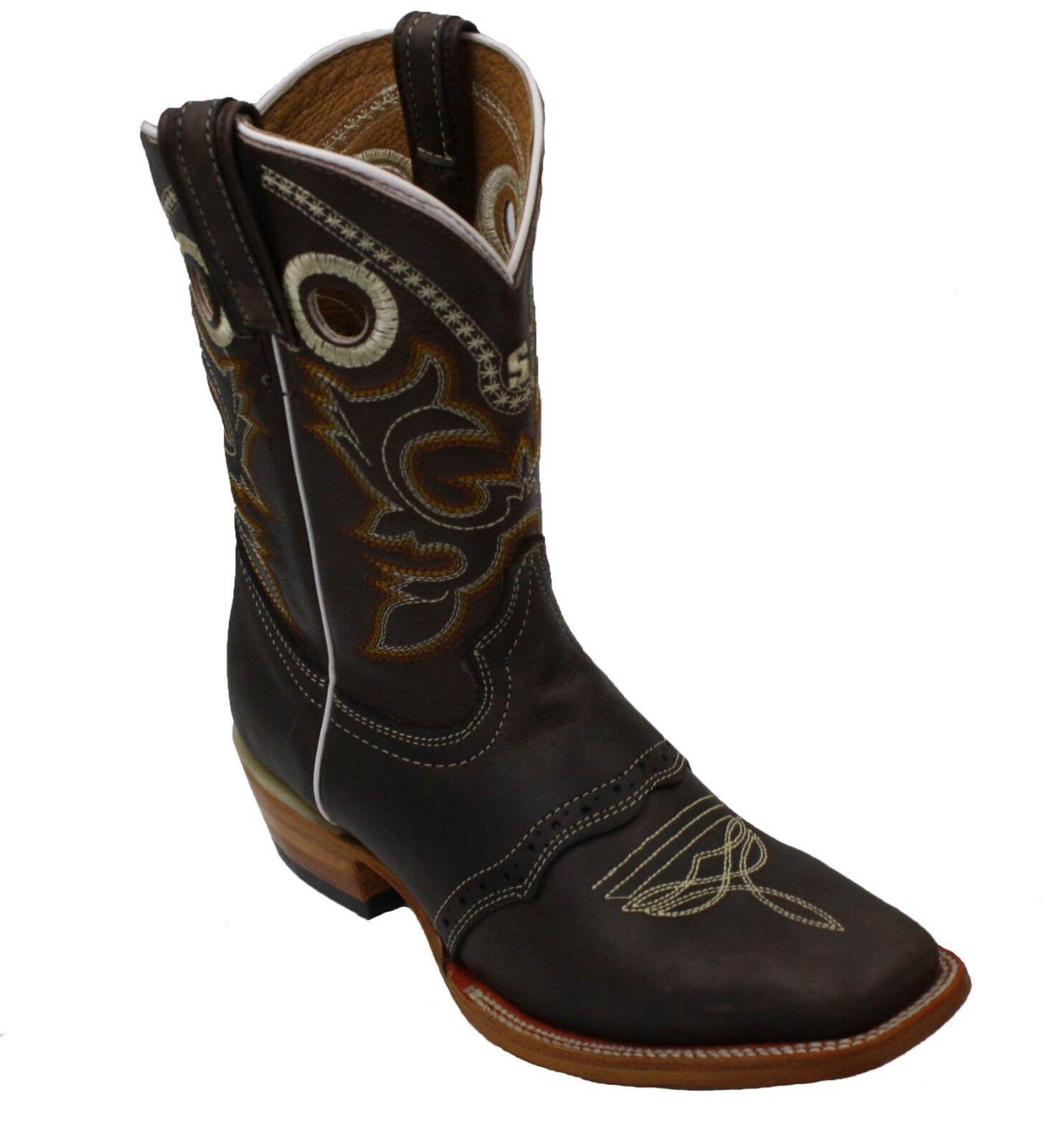 Women's Western Square Toe Toe Toe Cowgirl Boot - De Dama Vaquero Cafe Bota-Brand New 53c5b3