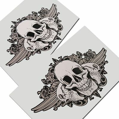 SKULL  graphics stickers decals x 2 pieces STYLE #004 Gothic Biker Death