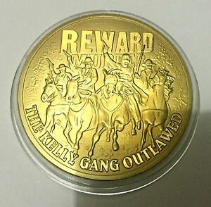 REWARD-The-Ned-Kelly-Gang-Outlawed-Coin-Medallion-24K-999-GOLD-FINISHED
