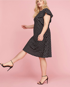 Lane-Bryant-Ruffle-Sleeve-Polka-Dot-Fit-Flare-Dress-Women-Plus-22-24-26-28-3x-4x