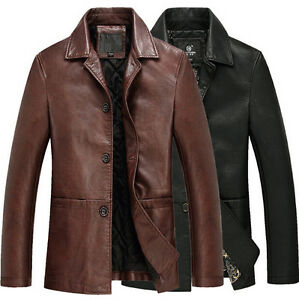 2015 Vintage Men's Leather Jacket motorcycle leather Outerwear Parka Coat S-3XL